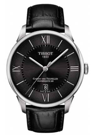 CHEMIN DES TOURELLES MEN'S AUTOMATIC BLACK DIAL WITH BLACK LEATHER STRAP 42MM,T0994071605800