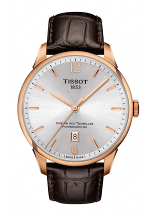 TISSOT Chemin Des Tourelles Automatic Silver Dial Brown Leather Men's Watch T0994073603700