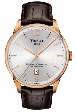 Tissot Chemin Des Tourelles Men's Automatic White Dial with Brown Leather Strap , T099.407.36.037.00 42mm
