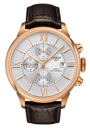 CHEMIN DES TOURELLES MEN'S CHRONOGRAPH AUTOMATIC SILVER DIAL WITH BROWN LEATHER STRAP T099.427.36.038.00, 44MM
