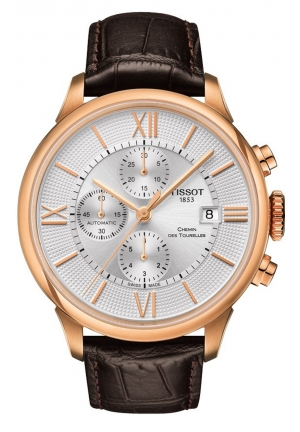 Tissot Chemin Des Tourelles Men's Chronograph Automatic Silver Dial with Brown Leather Strap , T099.427.36.038.00 44mm