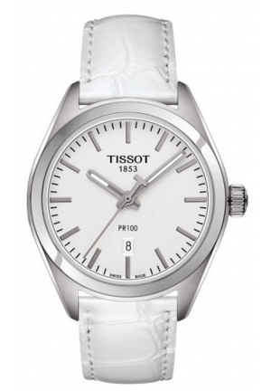 PR 100 WHITE DIAL WHITE LEATHER LADIES WATCH T1012101603100, 33MM