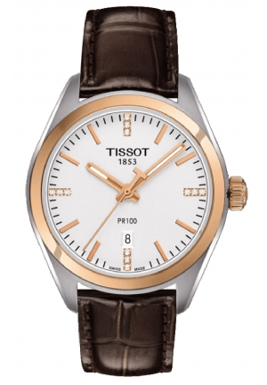TISSOT PR100 Silver Dial Brown Leather Ladies Watch T1012102603600, 33mm
