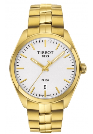 TISSOT PR 100 Lady Silver Dial Gold PVD Ladies Watch T1012103303100, 33mm