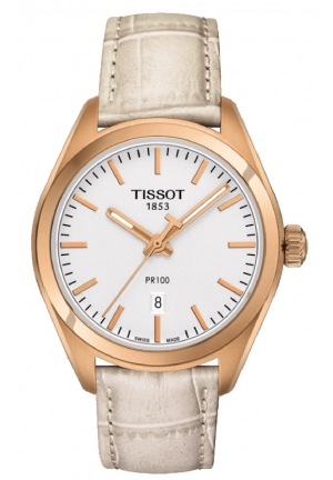 TISSOT PR 100 Silver Dial White Leather Ladies Watch T1012103603100, 33mm