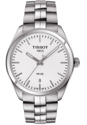 TISSOT PR100 Silver Dial Stainless Steel Men's Watch T1014101103100, 39mm