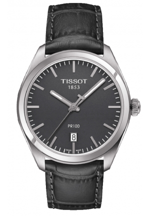 TISSOT PR100 Grey Dial Grey Leather Men's Watch T1014101644100, 39mm