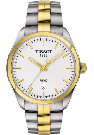 TISSOT PR 100 Men's Quartz Silver Dial with Two-Tone Stainless Steel Bracelet T1014102203100, 39mm
