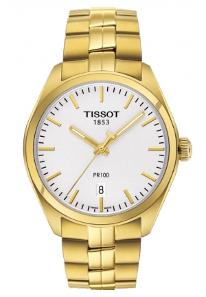 TISSOT PR100 Silver Dial Gold PVD Men's Watch T1014103303100, 39mm