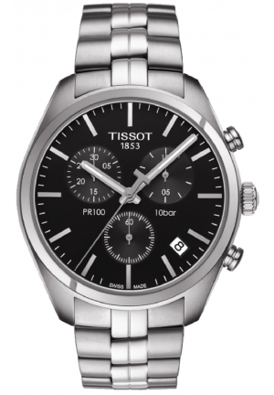 PR 100 Black Dial Chronograph Stainless Steel Men's Watch T101.417.11.051.00