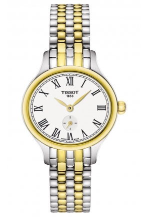 BELLA ORA PICCOLA QUARTZ STAINLESS STEEL AND YELLOW PVD LADIES WATCH T1031102203300 , 24.4 X 27.2MM