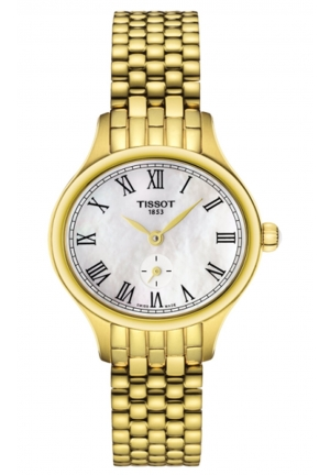 BELLA ORA PICCOLA QUARTZ STAINLESS STEEL WITH YELLOW PVD LADIES WATCH T1031103311300 , 24.4 X 27.2MM