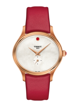 BELLA ORA QUARTZ RED LEATHER LADIES WATCH, T1033103611101  31.4 X 28MM