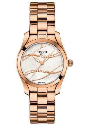 Tissot Ladies Diamond T-Wave Rose Gold Watch T112.210.33.111.00