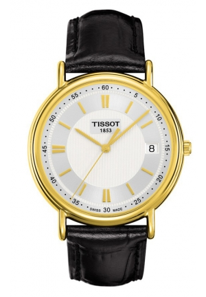 TISSOT CARSON 18K YELLOW GOLD MEN'S QUARTZ WITH EOL SILVER DIAL WATCH WITH BLACK LEATHER STRAP T9074101603100 40mm