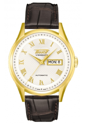 TISSOT Visodate 18K Yellow Gold Mens Watch T910.430.16.033.00, 40mm