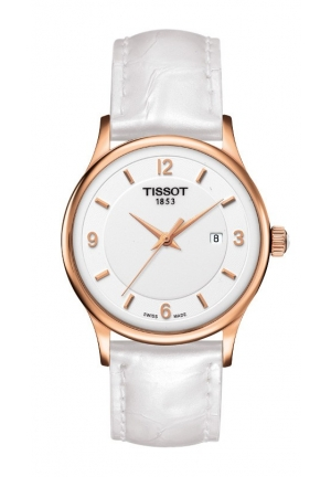 TISSOT Rose Dream Lady Quartz 18K Gold White Dial Watch with White Leather Strap T9142104601700 30mm