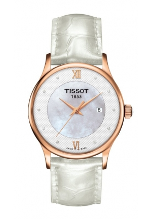 TISSOT Rose Dream Lady Quartz Diamond 18K Rose Gold Case White MOP Dial Watch with White Leather Strap T9142107611601 30mm