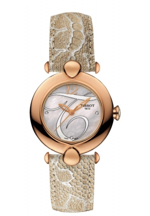 PRETTY 18K ROSE GOLD QUARTZ WHITE MOP DIAL DIAMOND WATCH WITH LIGHT BROWN LEATHER STRAP T9182107611602, 37.6MM