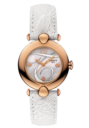 TISSOT Pretty Lady Quartz 18K Rose Gold Case White MOP Dial Watch with White Leather Strap T9182107611700 30mm