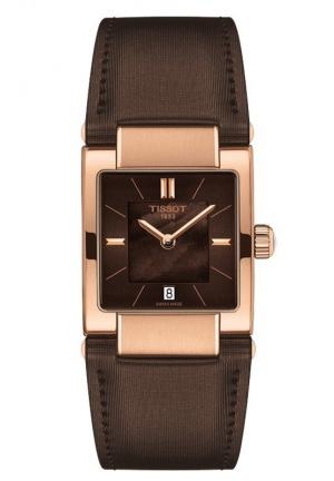 TISSOT Lady T02 Women's Quartz Brown MOP Dial Watch with Brown Leather Strap T090.310.37.381.00 32mm
