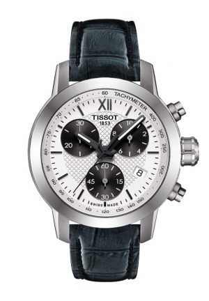 TISSOT PRC 200 Lady Quartz Silver Dial Watch with Black Leather Strap T055 417.16 038 35mm