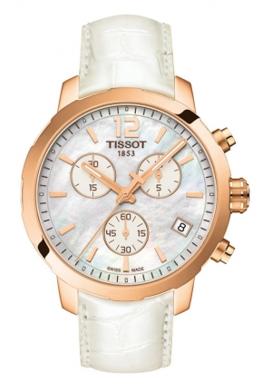 TISSOT QUICKSTER WOMEN'S QUARTZ MOP WHITE DIAL WITH WHITE LEATHER STRAP T095 417.36 117.00 42mm