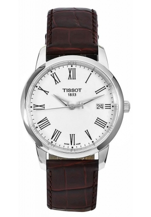 TISSOT T-Classic Dream White Dial Brown Leather Strap Watch T033.410.160.13.01 38mm