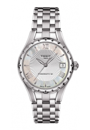 TISSOT T-Lady T072 Women's Automatic White MOP Dial Watch with Stainless Steel Bracelet T072.207.11.118.00 34mm