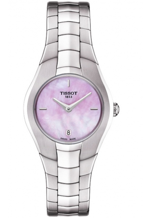 TISSOT T-ROUND WOMEN'S MOP PINK DIAL WATCH WITH STAINLESS STEEL BRACELET T096.009.11.151.00 26mm