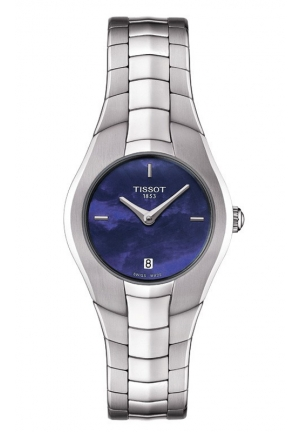TISSOT T-Round Women's Quartz Blue MOP Dial Watch with Stainless Steel Bracelet T096.009.11.131.00 26mm