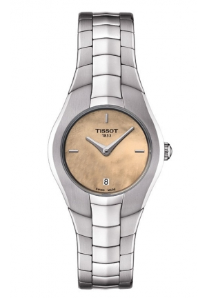 TISSOT T-Round Women's Quartz Orange MOP Dial Watch with Stainless Steel Bracelet T096.009.11.431.00 26mm
