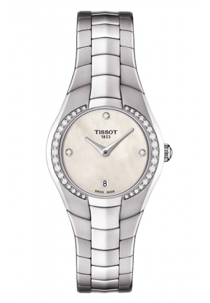 TISSOT T-Round Women's Quartz White MOP Dial Diamond Watch with Stainless Steel Bracelet T0960096111600 26mm