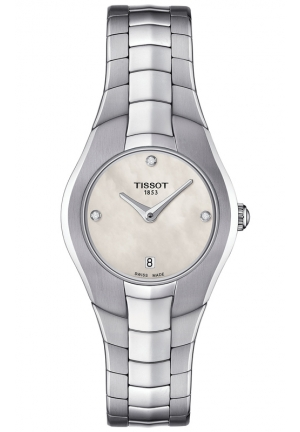 TISSOT T-ROUND WOMEN'S WHITE MOP DIAL QUARTZ WATCH WITH STAINLESS STEEL BRACELET T096.009.11.116.00 26mm