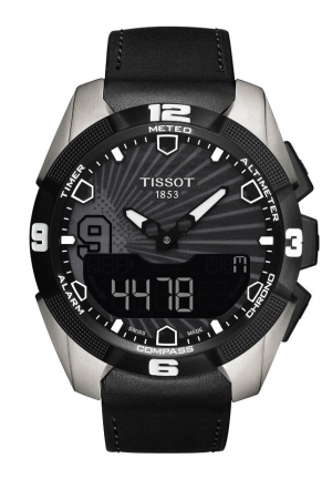 TISSOT T-Touch Expert Solar Men's Quartz Chronograph Black Dial Watch with Black Rubber Strap T0914204705100 45mm
