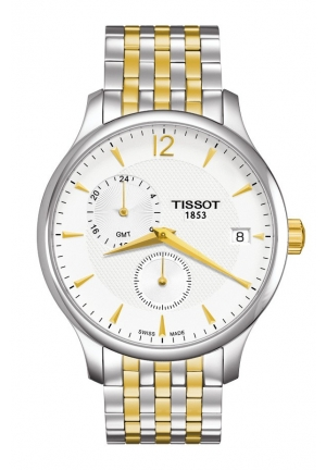 TISSOT Tradition GMT Men's Quartz Chrono Silver Dial Watch with Two-tone Stainless Steel Bracelet T063.639.22.037.00 42mm