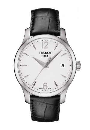 TISSOT Tradition Women's Quartz Silver Dial Watch with Black Leather Strap T063.210.16.037.00 33mm