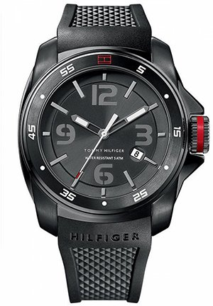 TOMMY HILFIGER Men's Black Silicone Strap 46mm