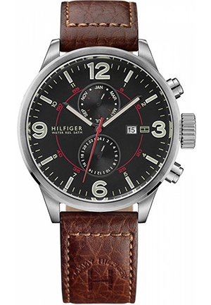 TOMMY HILFIGER Men's Brown Leather Strap 46mm