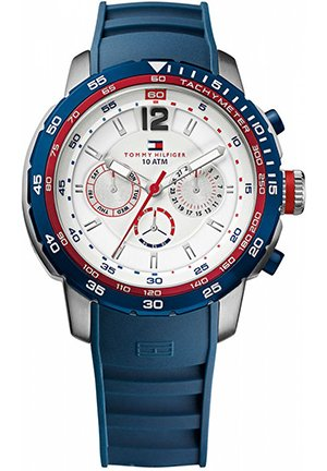TOMMY HILFIGER Men's Navy Silicone Strap 46mm