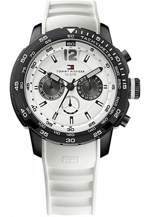 TOMMY HILFIGER Men's Sport Black Ion-Plated Bezel Multi-Eye White Silicon Strap Watch 46mm