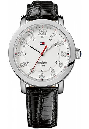 TOMMY HILFIGER Women's Black Leather Strap 38mm