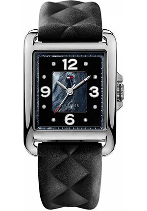 TOMMY HILFIGER Women's Black Quilted Silicone Strap 45x32mm