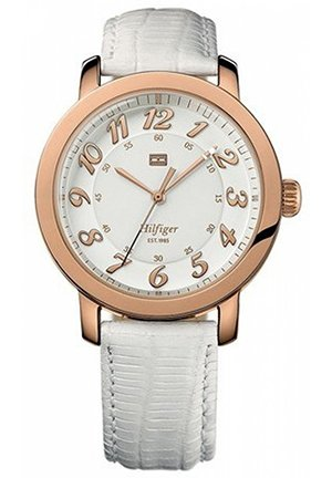 TOMMY HILFIGER Women's Rose Gold Plated Dail With White Leather Strap Watch 38mm