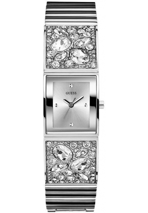 GUESS Women's U0002L1 Bejeweled Bracelet Silver-Tone Watch