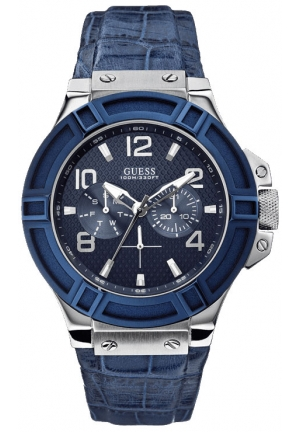 GUESS Blue and Silver-Tone Rigor Standout Sport Watch 46mm