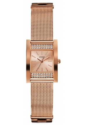 GUESS Women's Timeless Shine Crystal Mesh Rose Gold-Tone Watch U0127L3