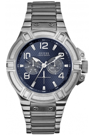 GUESS Blue and Silver-Tone Rigor Standout Sport Watch 45mm