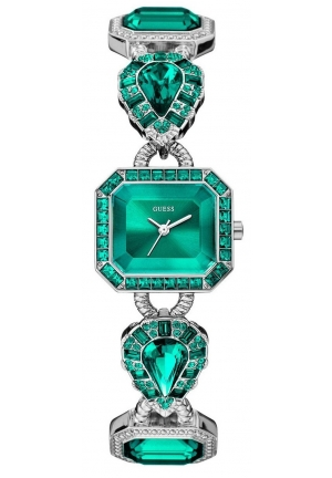 GUESS Women's Green Jeweled Watch 23mm