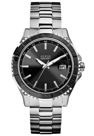 GUESS Black and Silver-Tone Masculine Sport Watch 42mm